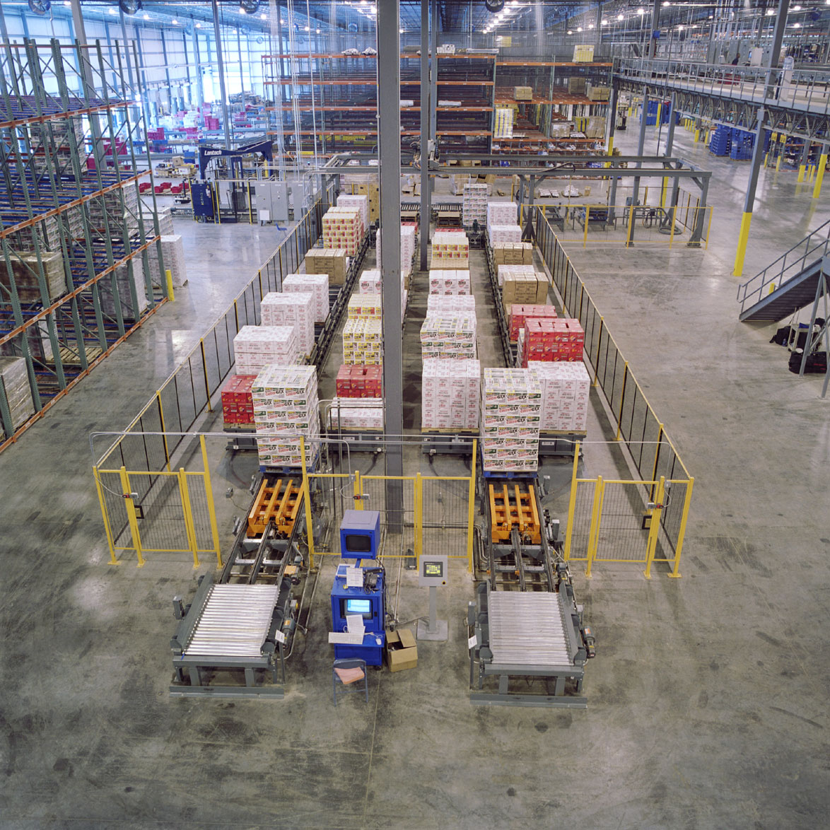 overhead view of a conveyor system on a shop floor