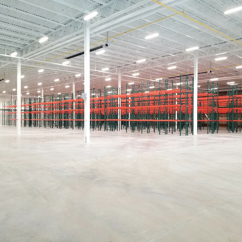 shelving units in a warehouse