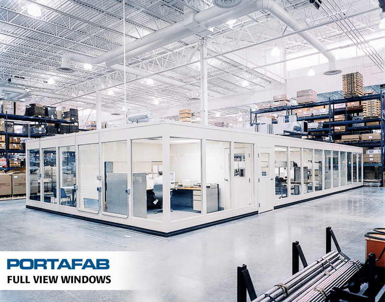 portafab modular office with full view windows
