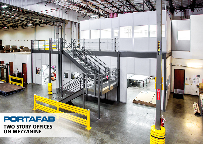 portafab two story modular in-plant office on mezzanine